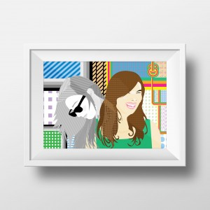 Self Portrait Illustration Framed